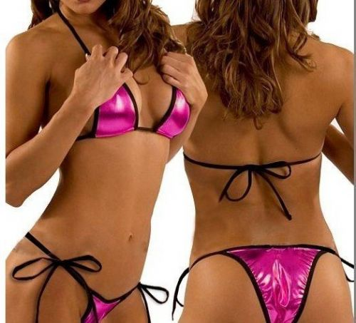 Micro Bikini (MB 12) - Metallic Pink with Black Trim